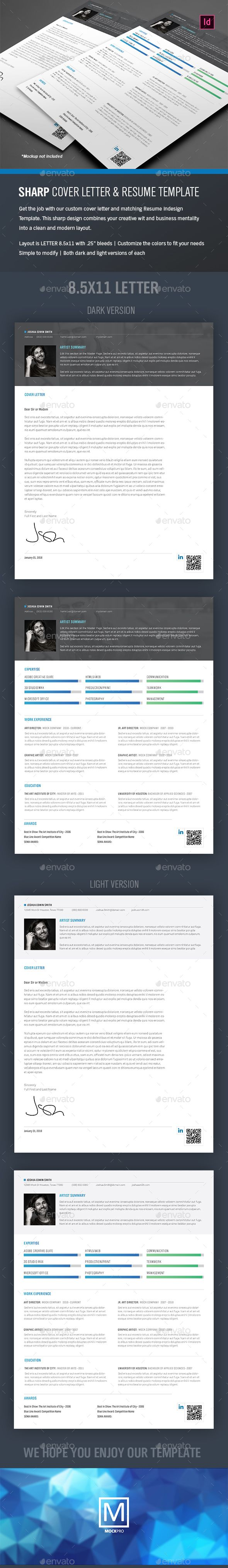 Sharp #Resume and Cover Letter - Indesign Template - #Resumes Stationery