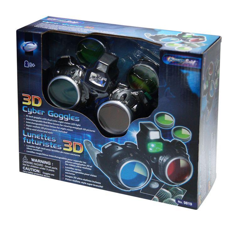 Lunettes futuristes 3D - 1 paire de lunettes futuristes, 1 lentille rouge, 1 lentille bleue, 2 lentilles vertes, 2 images en 3D, 3 piles incluses. -   Age : 8 ans et plus -   Référence : 00059169  #Jeux #Jouet #Famille #Enfant #Chalet #Vacances #Cadeau