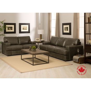 Nottingham Grey Top Grain Leather Sofa and Loveseat