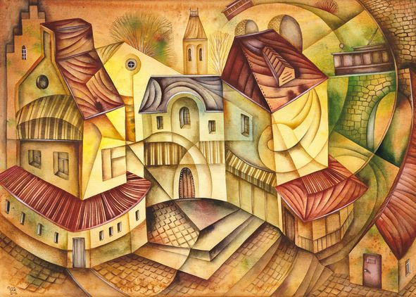 Sleepy Trams  by Eugene Ivanov, watercolor on paper, 29 X 41 cm, $250. #eugeneivanov #@eugene_1_ivanov #modern #original #oil #watercolor #painting #sale #art_for_sale #original_art_for_sale #modern_art_for_sale #canvas_art_for_sale #art_for_sale_artworks #art_for_sale_water_colors #art_for_sale_artist #art_for_sale_eugene_ivanov