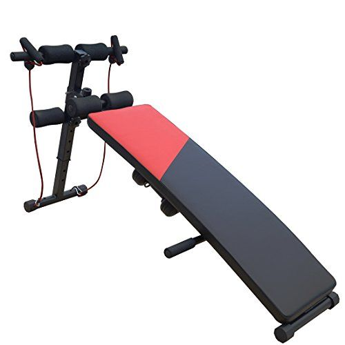 PERFORMANZ® Adjustable Decline Sit up Bench Ab Crunch Board with Dumbbells and a Resistance Band - Listing price: $79.99 Now: $39.99