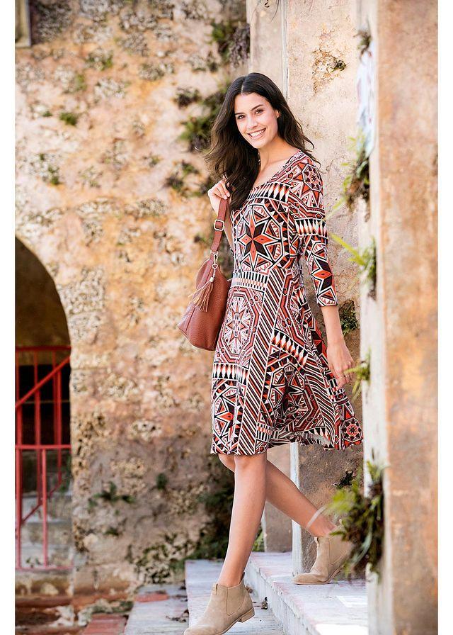 062d4c2485f6 Sukienka, rękawy 3/4 • brązowy marsala z nadrukiem • bonprix sklep ...