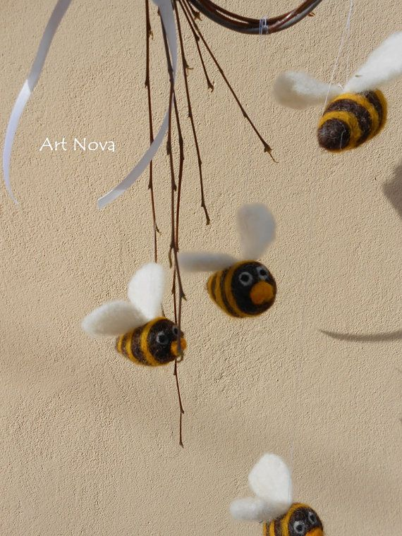 Hey, I found this really awesome Etsy listing at https://www.etsy.com/listing/229857549/felted-little-bees-little-bees-mobile
