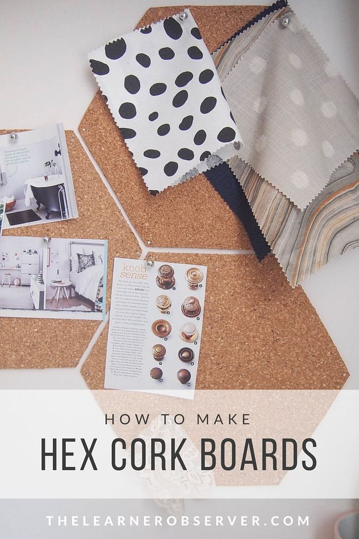Make hexagon cork boards out of dollar store cork tiles - by The