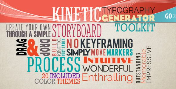 http://videohive.net/item/kinetic-typography-generator-toolkit/6840651?ref=signs09 The KINETIC TYPOGRAPHY GENERATOR PACKAGE is a AE CS 5.0 Full HD package coming with an kinetic typograpgy generator automated system. Build very easily without keyframing your own storyboard or customize the included ones.