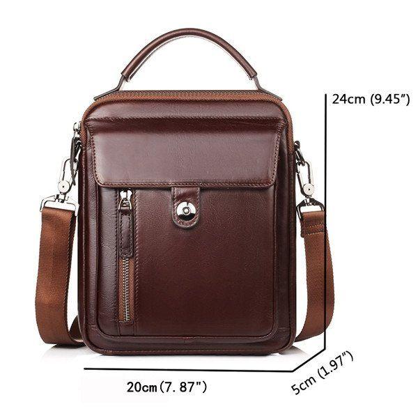 Genuine Leather Vintage Business Single-shoulder Bag Crossbody Bag For Men