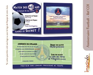 carton anniversaire football PSG, carton invitation, anniversaire 40 ans, foot, football, fan de foot, anniversaire surprise, commande en ligne, carton original