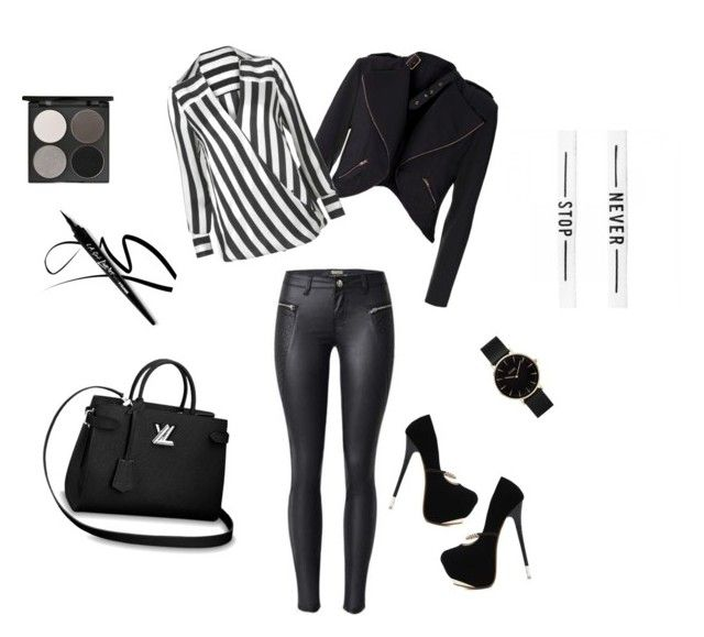 """""""blackandwhite"""" by lillus-lako-ll on Polyvore featuring WithChic, Gorgeous Cosmetics and CLUSE"""