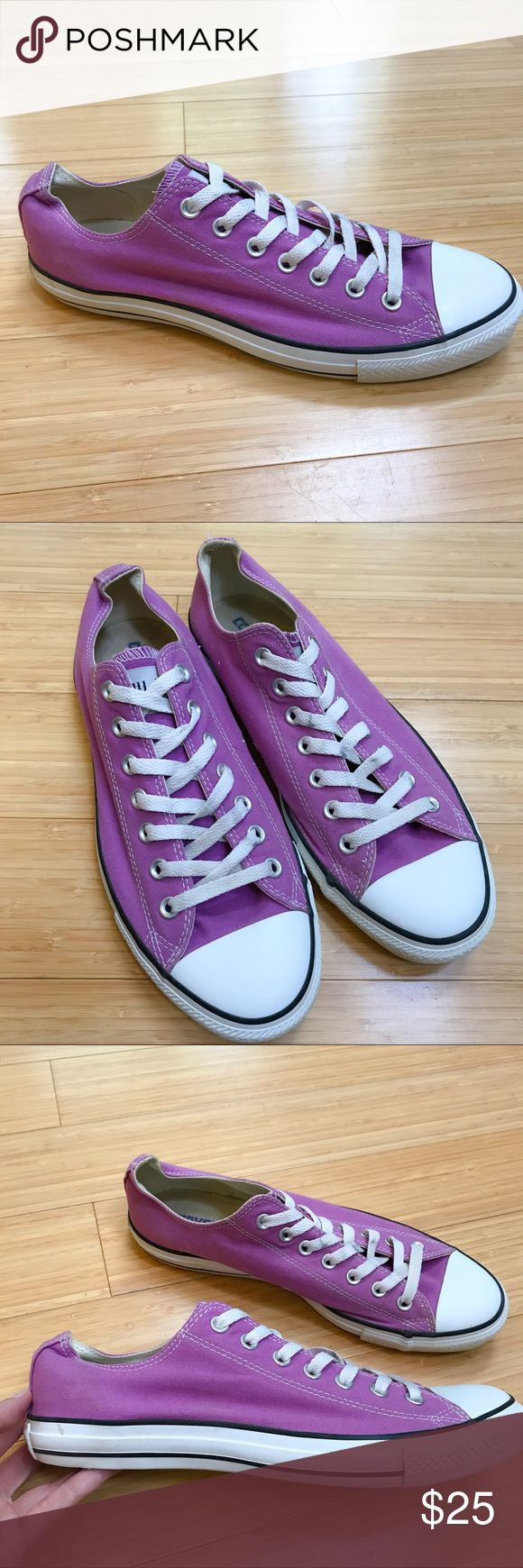 CONVERSE All Star canvas Chucks sneakers, 12. Great pair of purple and white Converse brand All Star sneakers. These are women's size 12, men's size 10. Not brand new but good overall condition. The laces are no longer bright white and the bottom sole and foot bed is a little dirty, not bad. Super cute color! Good condition. Converse Shoes Sneakers