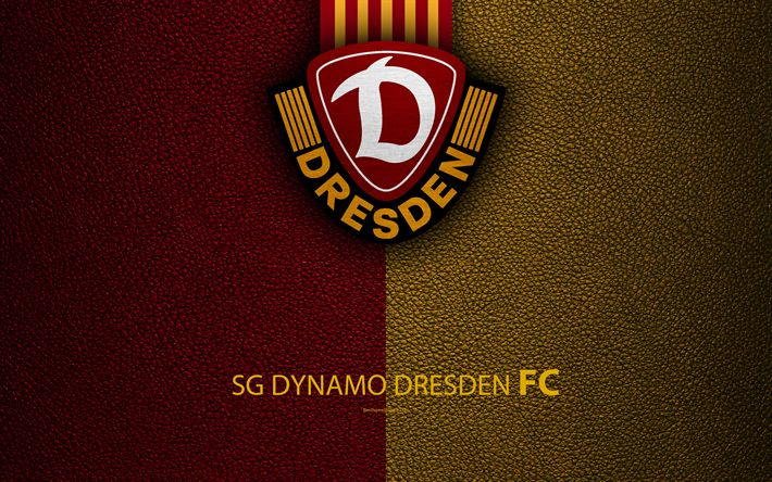 Download wallpapers SG Dynamo Dresden, 4K, leather texture, German football club, logo, Dresden, Germany, Bundesliga 2, second division, football