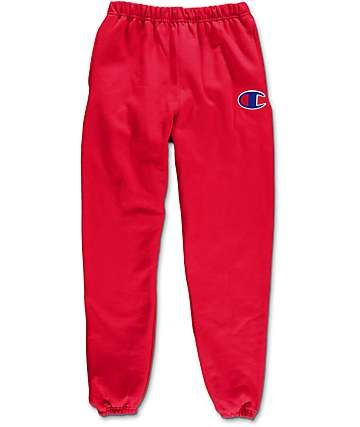 Champion Large C Reverse Weave Banded Bottom Red Sweatpants