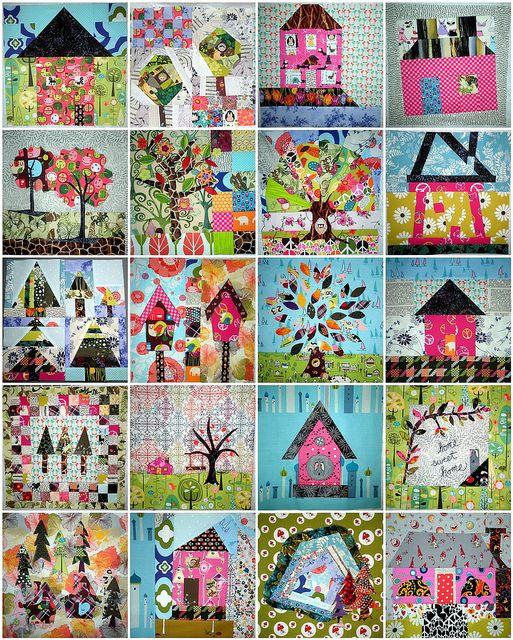 Home Sweet Home Quilt Along - 16 blocks PLUS 4 Bonus Blocks - I'm in LOVE! by PersimonDreams, via Flickr