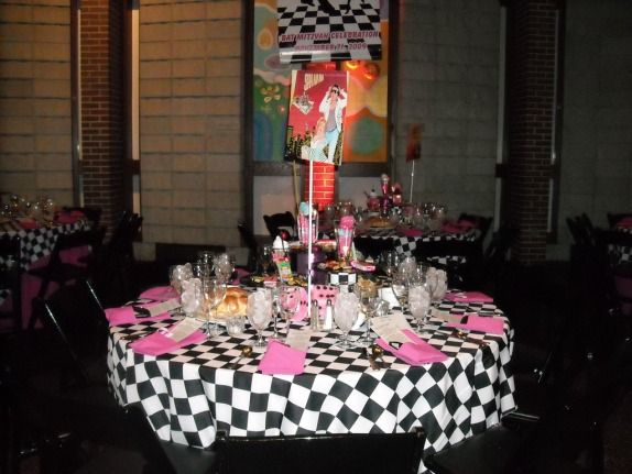 table decor - 74 Best Doo Wop Theme Party Images On Pinterest