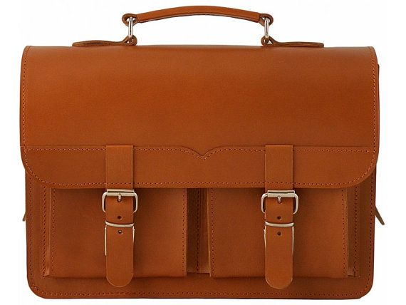 Leather Handcrafted Briefcase  Laptop  Messenger  by YuffyLeather