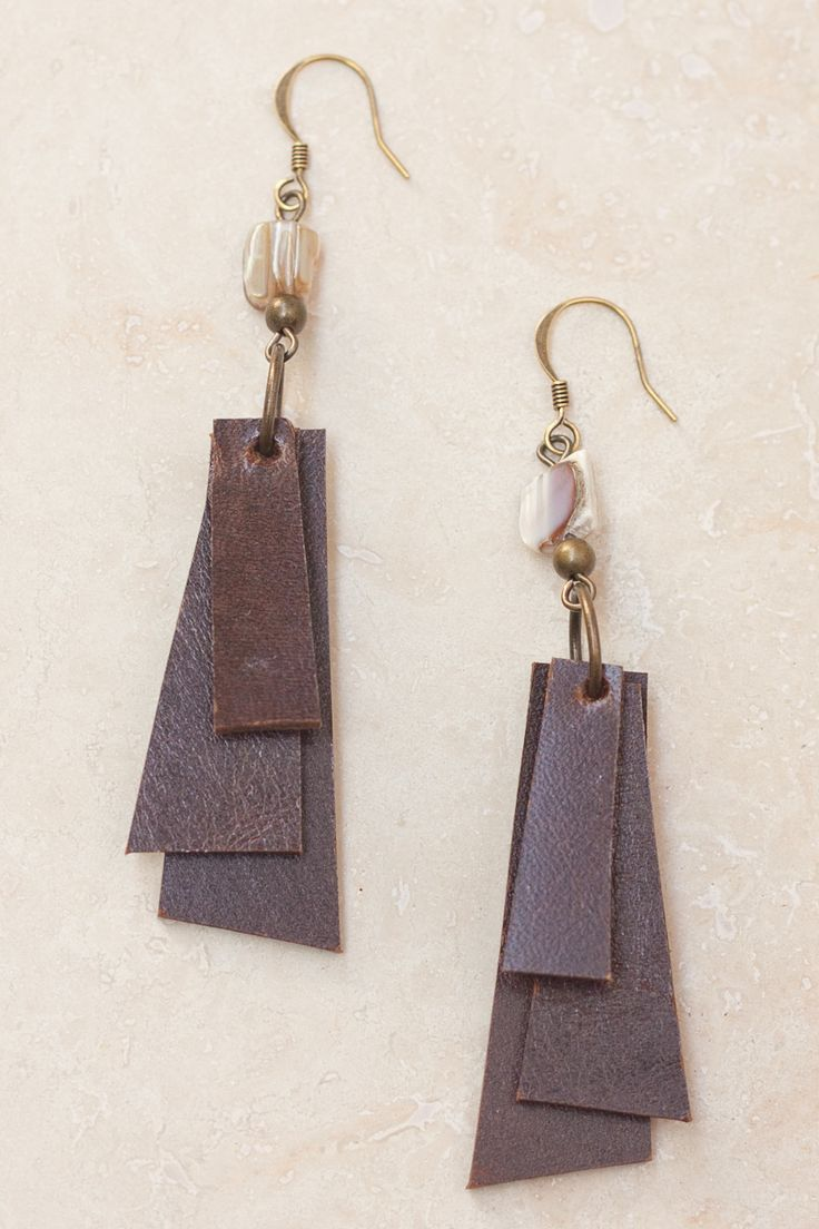 Coco Layered Leather Earrings  Brown