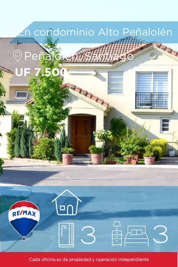 [#Casa en #Venta] - En condominio Alto Peñalolén 🛏: 3 🚿: 3  👉🏼 http://www.remax.cl/1028018067-37  #propiedades #inmuebles #bienesraices #bienesraiceschile #inmobiliaria #agenteinmobiliario #exclusividad #asesores #construcción #vivienda #realestate #invertir #REMAX #Broker #inversionistas #arquitectos #venta #arriendo #casa #departamento #oficina #chile