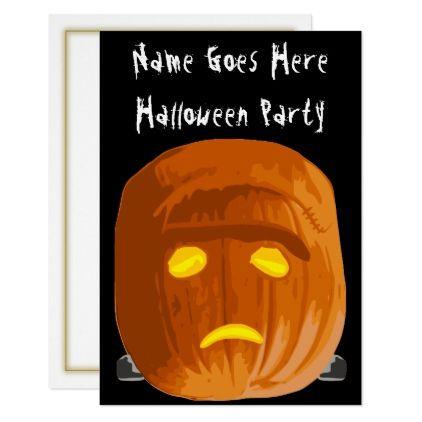 Frankenstein Pumpkin Halloween Party Invitation - invitations custom unique diy personalize occasions