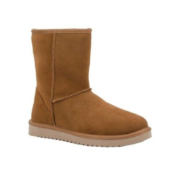 Women's Koolaburra by UGG Koola Short Boot ($70) ❤ liked on Polyvore featuring shoes, boots, ankle booties, brown, casual, winter boots, wedge bootie, brown wedge booties, ankle boots and wedge boots