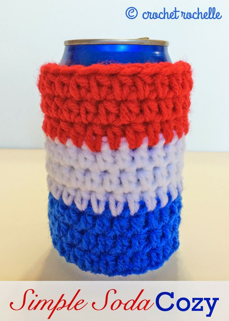 Simple Soda Can Cozy - my new #freepattern perfect for Father's Day or a 4th of July party! #rockthecozy
