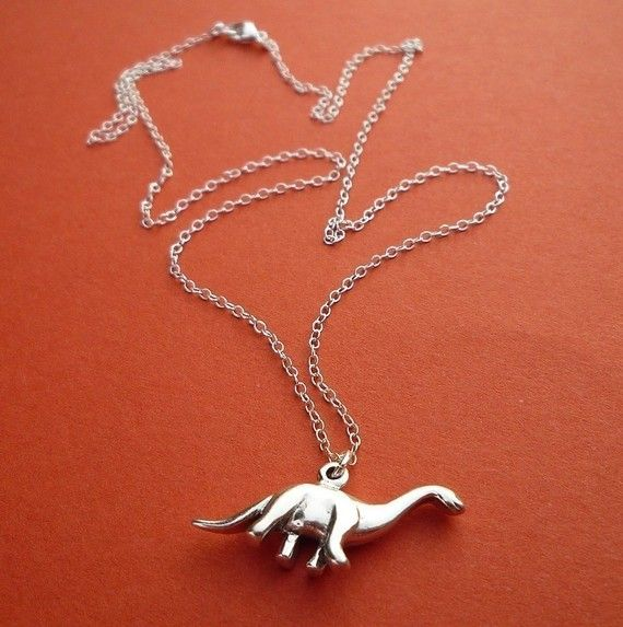 RWAR. sterling brontosaurus dinosaur necklace gift by cravejewelrydesign, $28.00