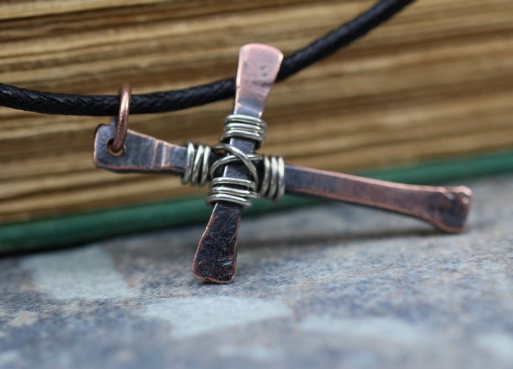 Rugged Rustic Cross Necklace In Copper and Silver for Men - The Weathered Cross