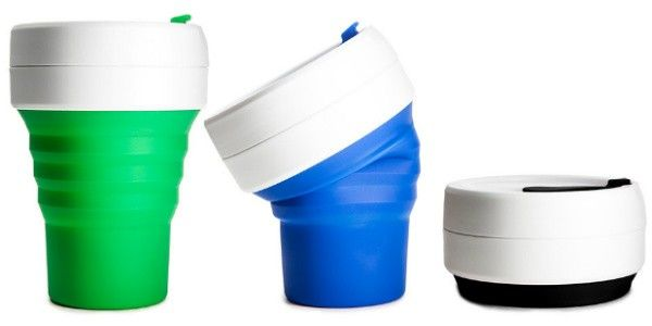Collapsible Coffee Cup. Create a practical eco-friendly promotion by giving away a collapsible coffee cup. Made from food-grade silicone and sealed tight with a two piece leak-proof polypropylene lid. This cup collapsed from 5″ high down to 1.75″ high. All cups come with a slip on insulating sleeve that perfect for your logo.