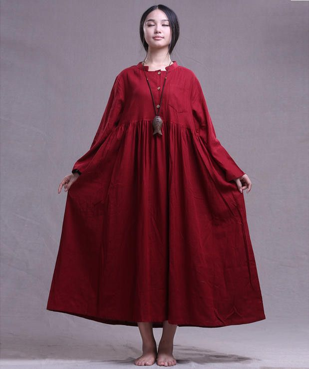 4 colors 100% linen kaftan, long sleeved linen maxi dress gown for woman,maternity clothing,plus size clothing