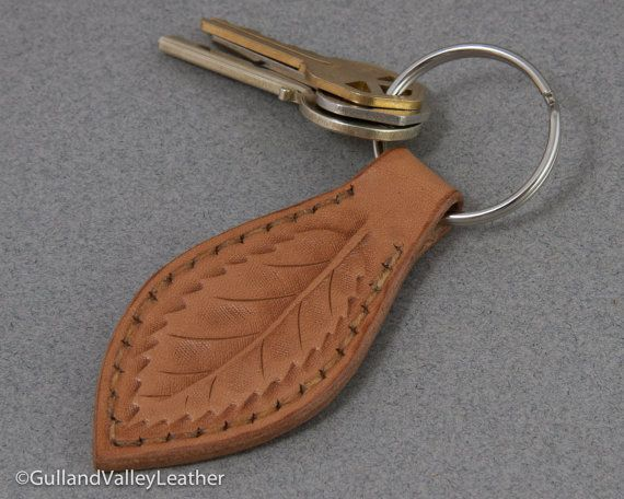 Leaf Leather Key Ring Key Fob, Tooled Leaf Design Key Chain MXS  via Etsy