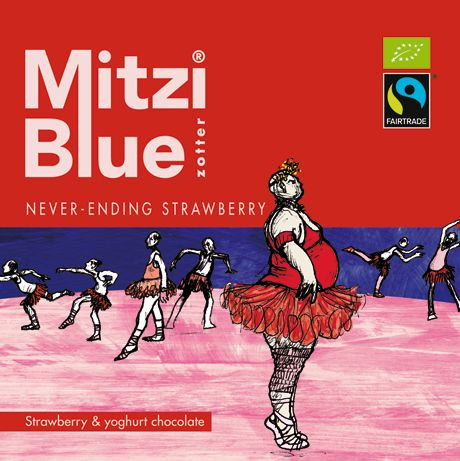 Zotter Chocolates Mitzi Blue Never-Ending Strawberry