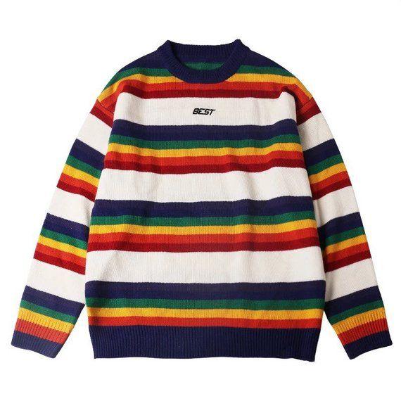 243e9928197 Vintage Rainbow Pullover Sweater, Colorful Striped Sweater, Rare ...