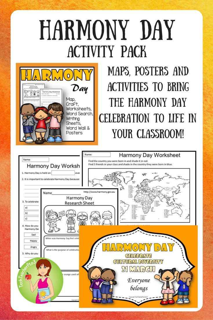 All you need to celebrate Harmony Day in your classroom (21st March) with plenty of hands on activities, vocabulary work, posters, maps, classroom activities and more. Explore this celebration of diversity with your students.