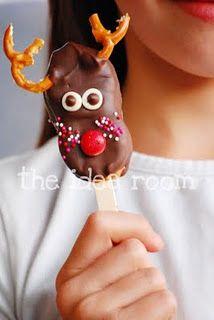 marshmallow!... cut in half add caramel...dip in choc make into hats or snowmen