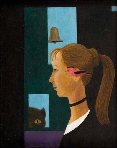 Kazimierz Mikulski - Portret oglądany przez kota, około 1968-70 r.