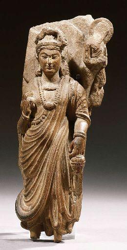 a fine gandhara schist figure of perhaps maitreya 2ND/3RD CENTURY