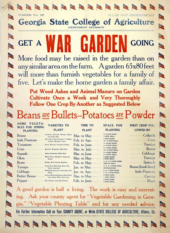 "VINTAGE WORLD WAR 2 WAR GARDEN POSTER An Exhibition of Posters by Cory Bernat: ""Beans are Bullets"" and ""Of Course I Can!"""