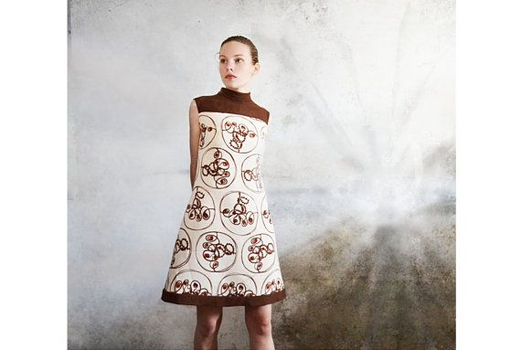 Vintage 60s mod dress Shift dress Chocolate brown dress 1960s clothing Size 8 on Etsy, $48.00