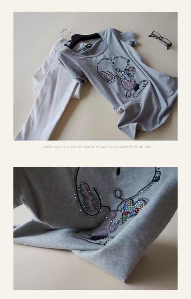 【楽天市場】[メール便可]キラキラ&ヒョウ柄が可愛い!スヌーピー柄のビジュー付き半袖Tシャツキャラクター・トップス・レディースファッション:笑顔美人