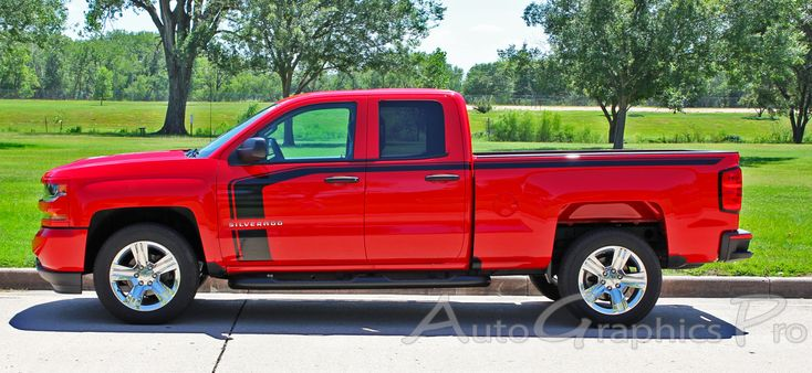 "2016-2017 Chevy Silverado Special Edition Rally Style ""FLOW"" Truck Hood Racing Stripes Side Door Vinyl Graphics Kit  Vinyl Graphic Stripes Decals Kits Vehicle Specific Accent Striping Decal Packages 