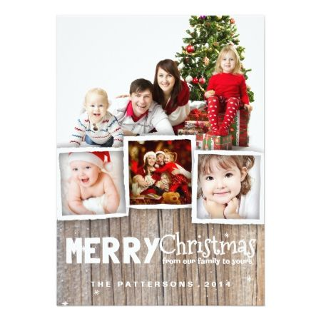 Country Rustic Wood Merry Christmas Photo Card - tap to personalize and get yours