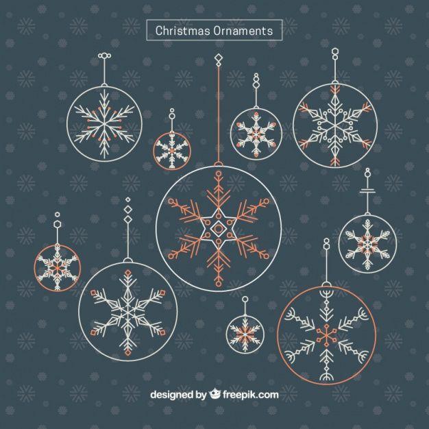 Декоративные новогодние шары в ретро-дизайн Бесплатные векторы