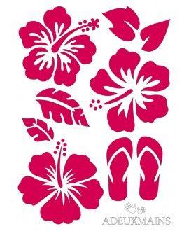 Pochoir Fleurs d'Hibiscus (A6) ADEUXMAINS