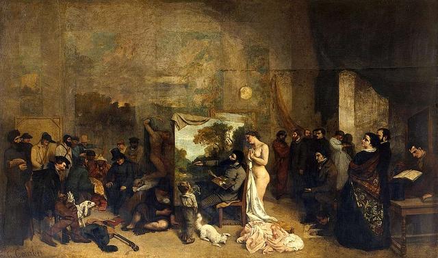 Gustave Courbet (1819_1877), L'atelier du peintre, allégorie réelle déterminant une phase de sept années de ma vie artistique, 1854-55, h/t, 361 x 598 cm, Paris, Musée d'Orsay.