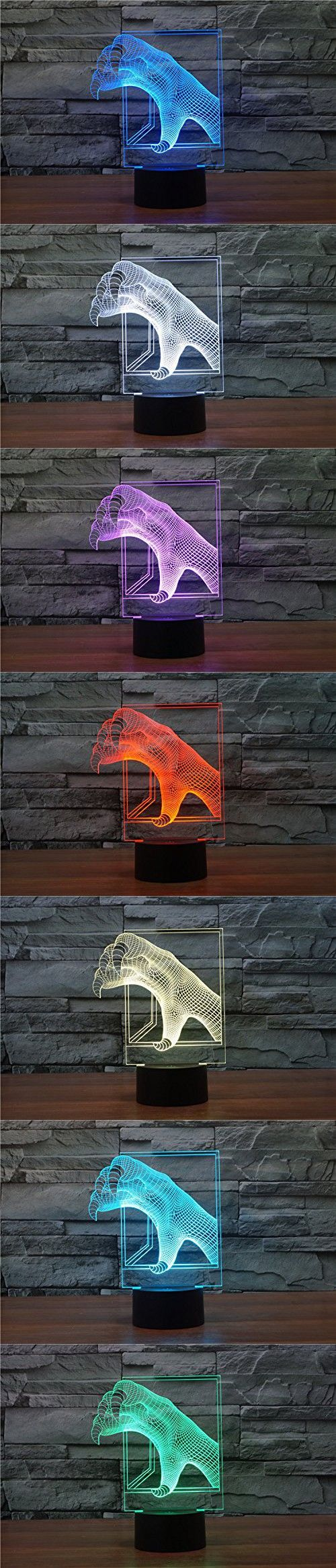 3D Glow LED Night Light 7 Vibrant Colors Optical Illusion Lamp Touch Sensor Perfect for Home Party Festival Decor Great Gift Idea (Dragon's Claw)
