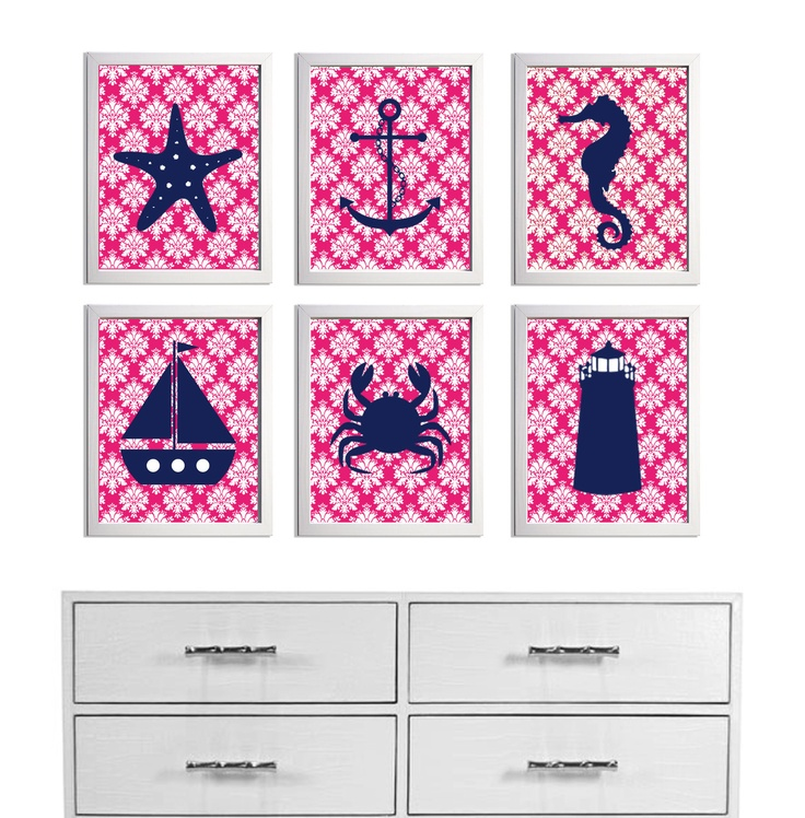 Damask Nursery Girl Beach Art Hot Pink Navy Nautical  more colors available set of 6 each 8x10. $62.00, via Etsy.