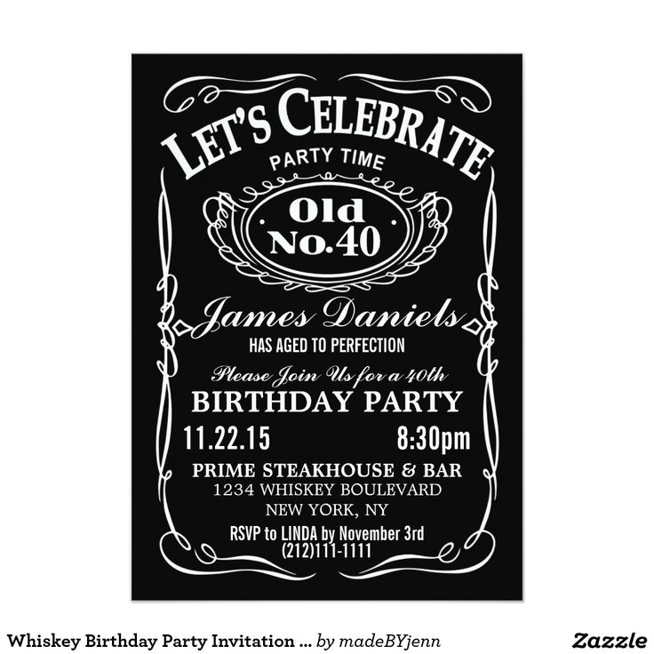 Jack Daniels Whiskey Birthday Party Invitation Customizable                                                                                                                                                     More