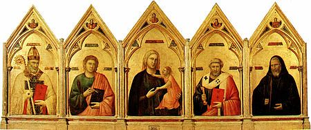 Badia Polyptych - The Badia Polyptych (Italian: Polittico di Badia) is a painting by the Italian artist Giotto, painted around 1300 and housed in the Uffizi Gallery of Florence.