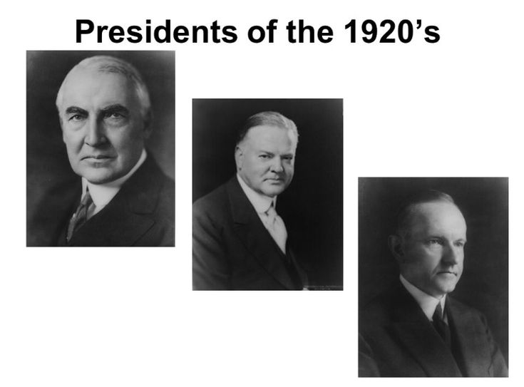 The 3 Presidents during the 1920s were Herbert C. Hoover (1928), Calvin Coolage (1942), Warren G. Harding (1920). They were all Republicans and all won with a population vote higher than 15 million.
