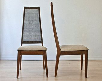 SALE Pair of Mid Century Dining Chairs Tall Cane Back Wool