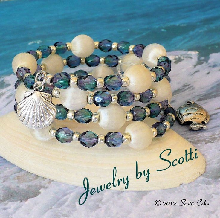 Sea Dreams Teal Silver Memory Wire Bracelet by JewelryByScotti, $20.00