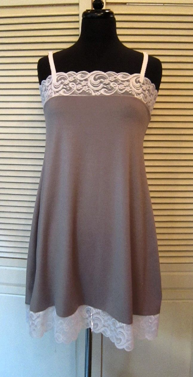 Earthy Eco Style Jersey Knit Nighty With Vogue Lace - Color: Taupe Sizes: Sm, Med, Lg, Xlg On Sale: $35.00
